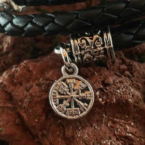 Wrapped Leather Lava Bracelet with Steel Vegvísir and Ægishjálmur charms