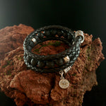 Load image into Gallery viewer, Wrapped Leather Lava Bracelet with Steel Vegvísir and Ægishjálmur charms