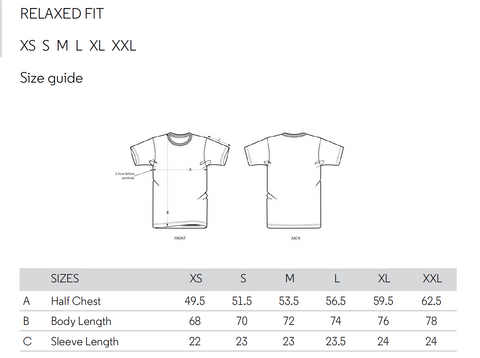 finite edition t-shirt size guide