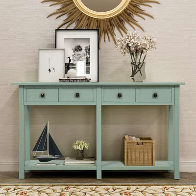 Rustic Console Table with 4 Drawers Bottom Shelf Storage Living Room Entryway