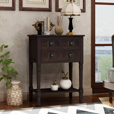 Vintage Console Table with 3 Storage Drawers and Bottom Shelf for Living Room