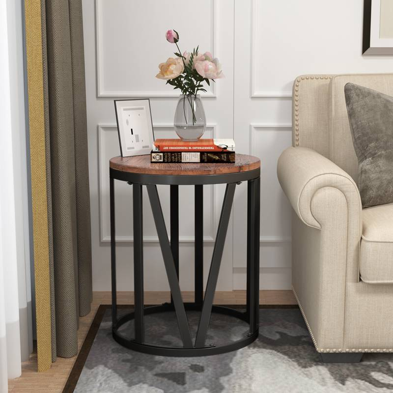Rustic Round Recycled Wood End Table Industrial Side Table