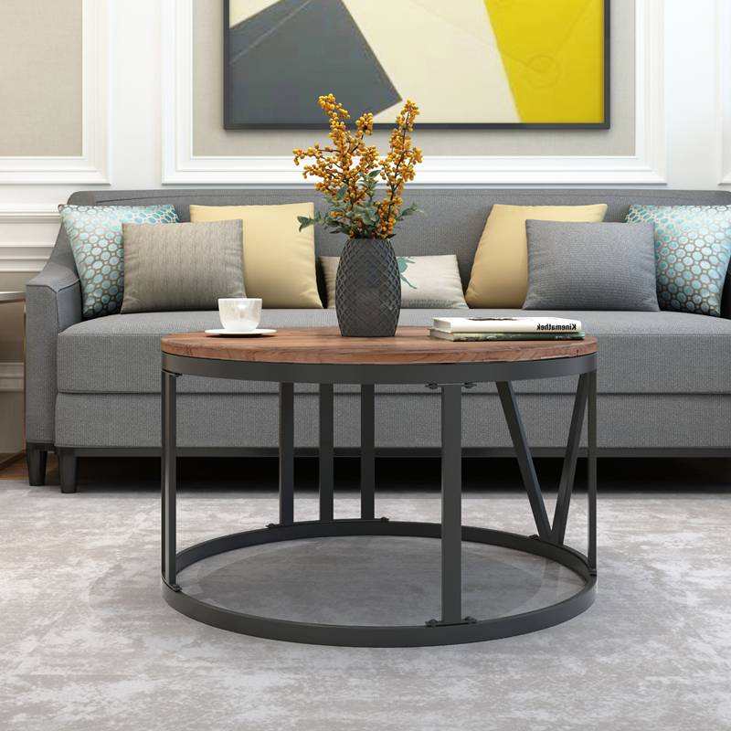 Rustic Industrial Round Recycled Wood Coffee Table