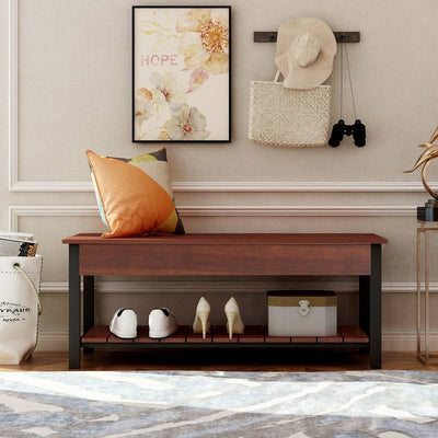 Shoe Storage Bench with Shelf and Seat for Hallways Living Room