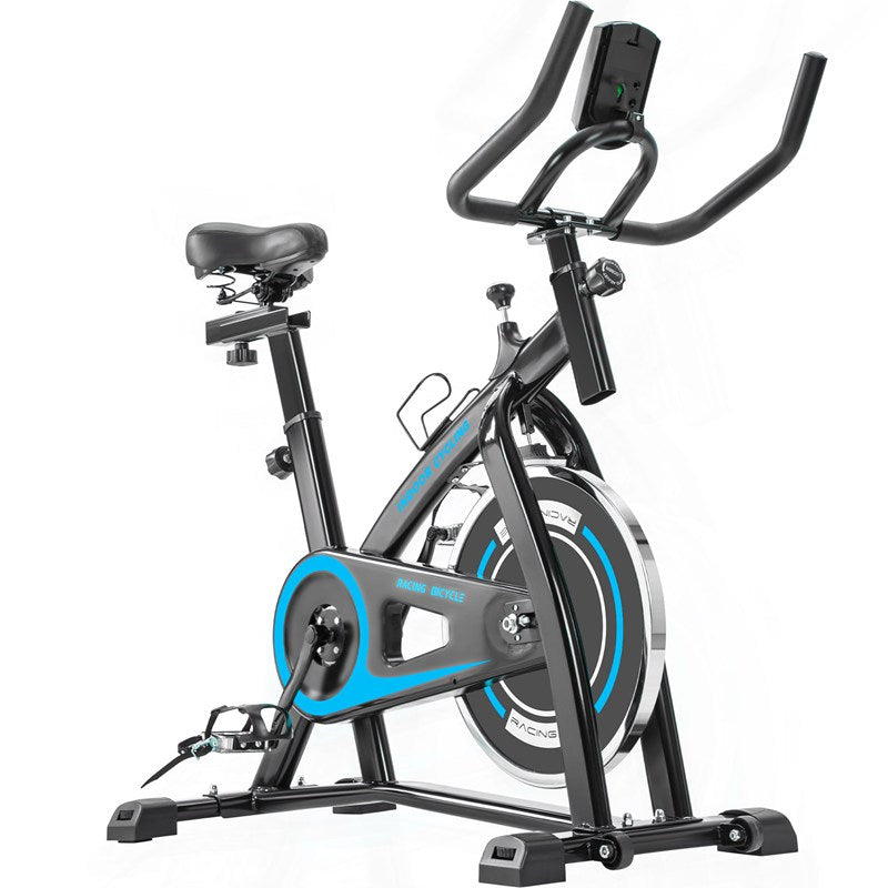 Indoor Exercise Spin Bike with Belt Drive System and Lcd Monitor for Home Workout