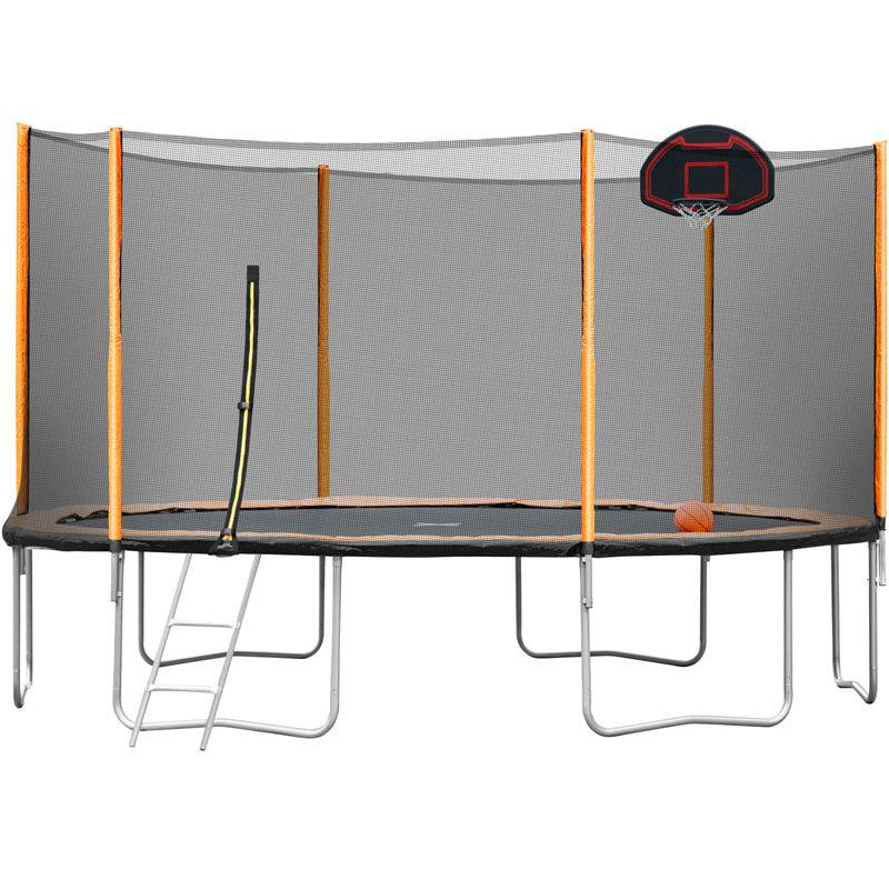 Premium 14 FT Family Basketball Trampoline with Safety Net Laddle Powder-Coated