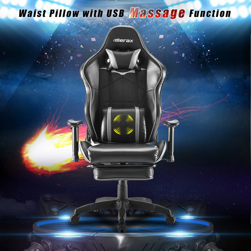 PU Leather Gaming Chair Racing Style with Massager Lumbar Support