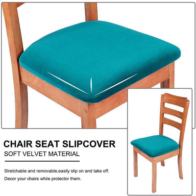 White Upholstered Stretch Dining Chair Seat Cushion Covers Seat Cushion Protectors Removable Washable Chair Slipcovers