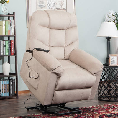 Power Lift Recliner Chair with Remote Control Upholstered Fabric for Living Room