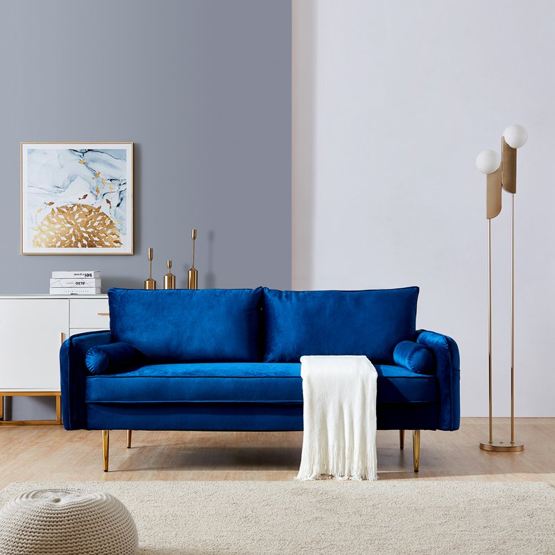 Velvet Fabric Living Room Sofa with Pocket