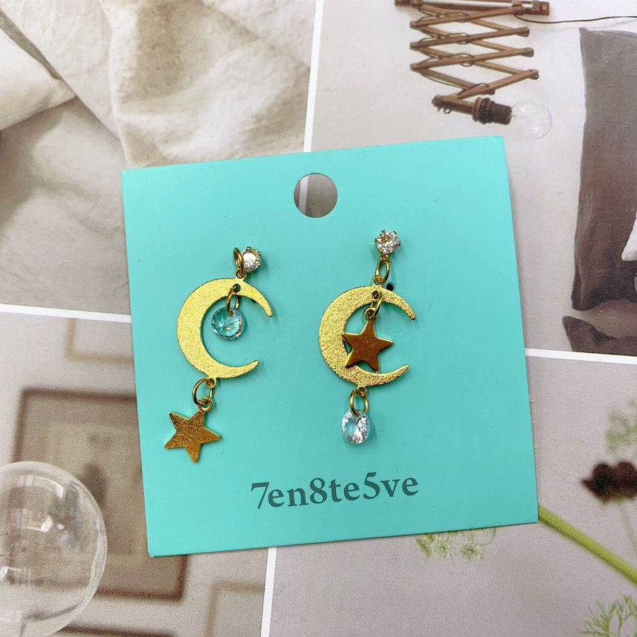 7en8te5ve 18K Moon Earrings for Women Drop Dangle Earrings Moon Star Pendant Fashion Jewelry Crystal Long Earring