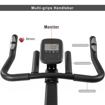 Indoor Cycling Bike Adjustable Handlebar Seat LCD Monitor Pulse Sensor for Home Cardio Workout