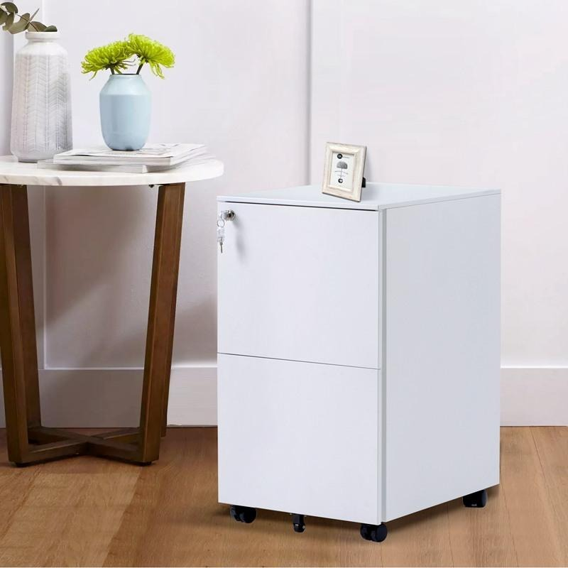 Mobile File Cabinet Metal Office Desk Storage Cabinet with Wheels Lock 2 Drawers