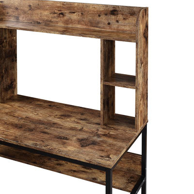 Brown Home Office Computer Desk with Storage Hutch Bookcase Rustic Industrial Style Writing Workstation