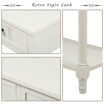 Vintage Console Table Sideboard Wooden Sofa Table with 2 Drawers and Bottom Shelf