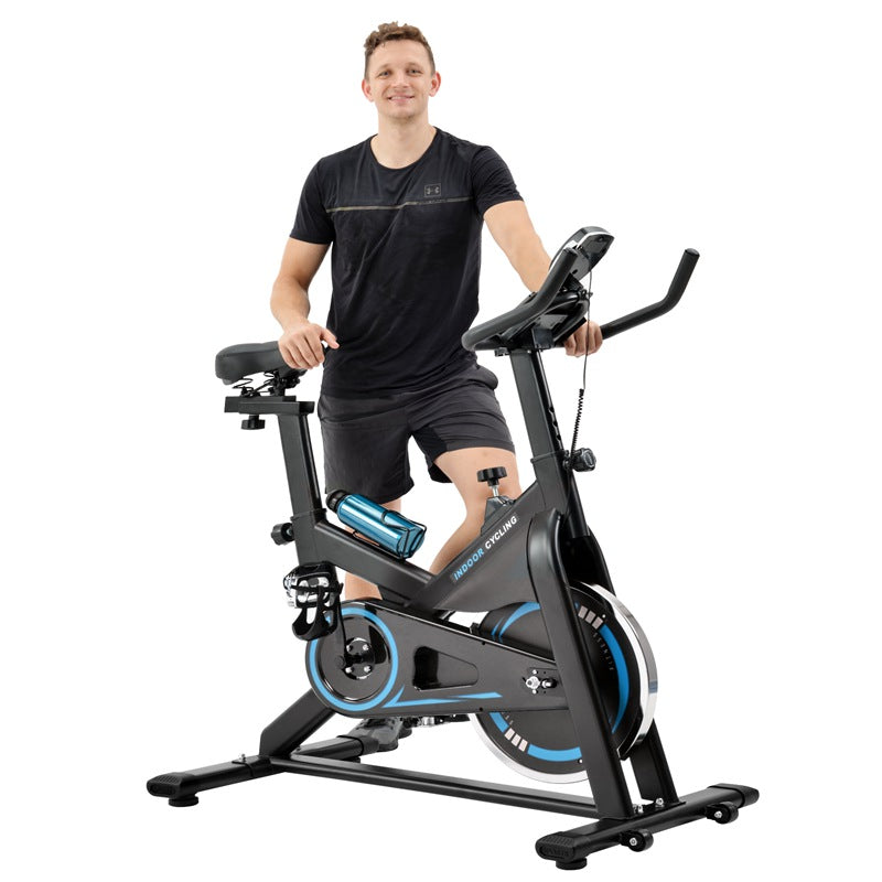 Indoor Exercise Spin Bike with Leather Resistance Pad Chromed Flywheel Silent Belt Drive
