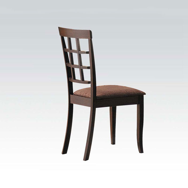 2 Pcs Dark Brown Wooden Dining Chair with Grid Pattern