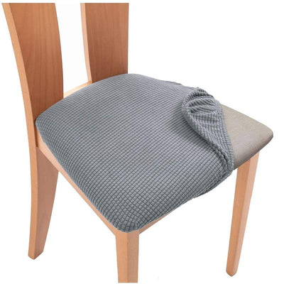Light Grey Upholstered Stretch Dining Chair Seat Cushion Covers Jacquard Chair Seat Cushion Protectors Chair Slipcovers