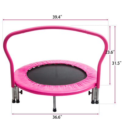 36inch Kid Trampoline with Handrail Safety Padded Cover for Indoor Outdoor Cardio Exercise