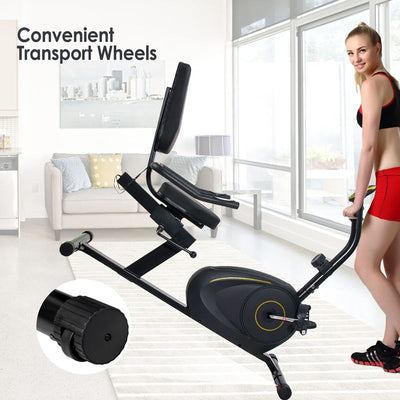 Compact Heavy Duty Recumbent Exercise Bike Home 8 Level Gym Bicycle 173kg Capacity