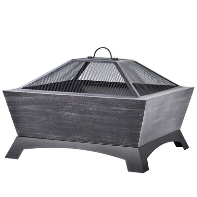 Outdoor Steel Fire Pit Square Table with Log Poker Mesh Screen Backyard Patio Garden Stove Wood Burning Fire Pit