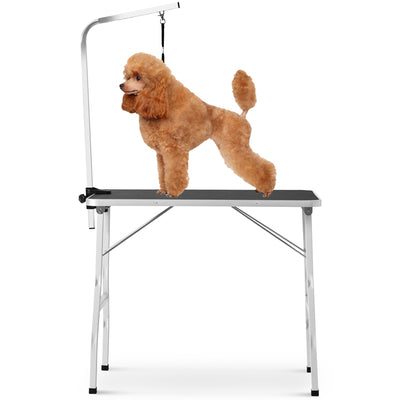 36 Inch Black Midium Size Pet Grooming Table with Steel Legs Foldable Nylon Clamp Adjustable Arm Rubber Mat Bathing Trimming Station