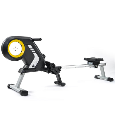 8-Level Foldable Magnetic Resistance Rowing Machine with Adjustable Resistance Transport Wheels