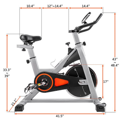 Heavy Duty Frame Smooth Exercise Bike LCD Oversize Soft Saddle Belt Driven Spin Bike 330 LBS