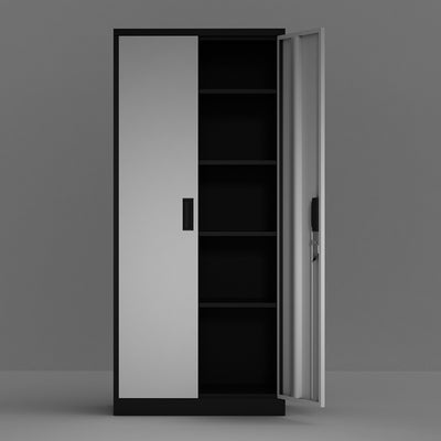 Metal Bookcase Steel Storage Cabinet with 4 Adjustable Shelves and Lockable Doors