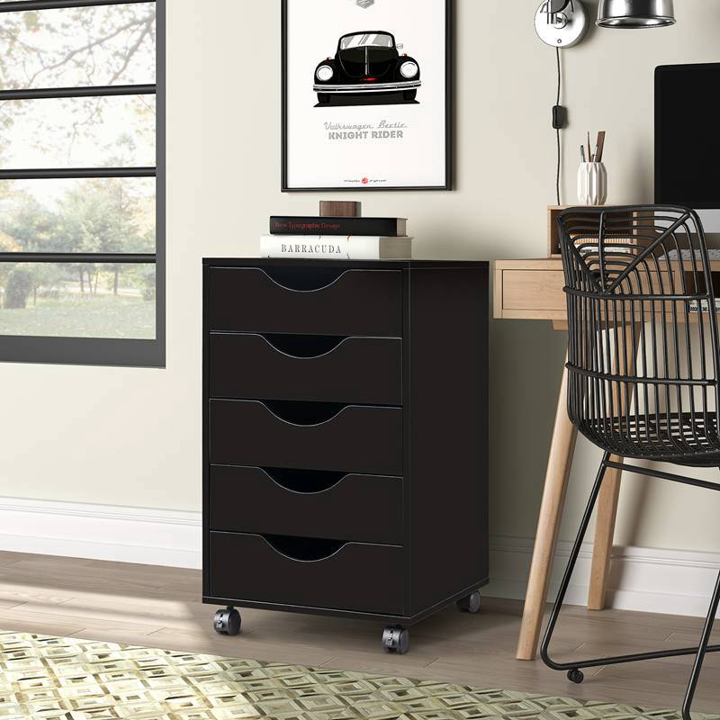 Storage File Cabinet with Locking Casters Wheels 5 Drawers Black Home Office
