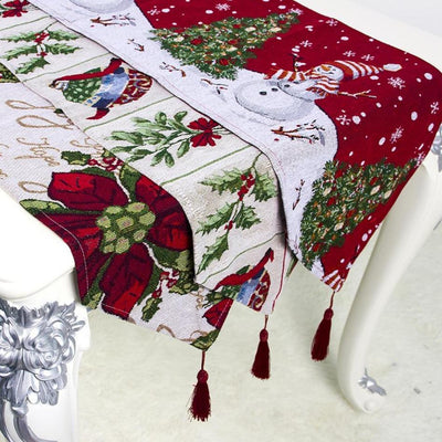 Christmas Embroidered Table Runner Home Decoration Cotton Linen Classic Table Bedding Mat Dining Room Party Holiday Decor