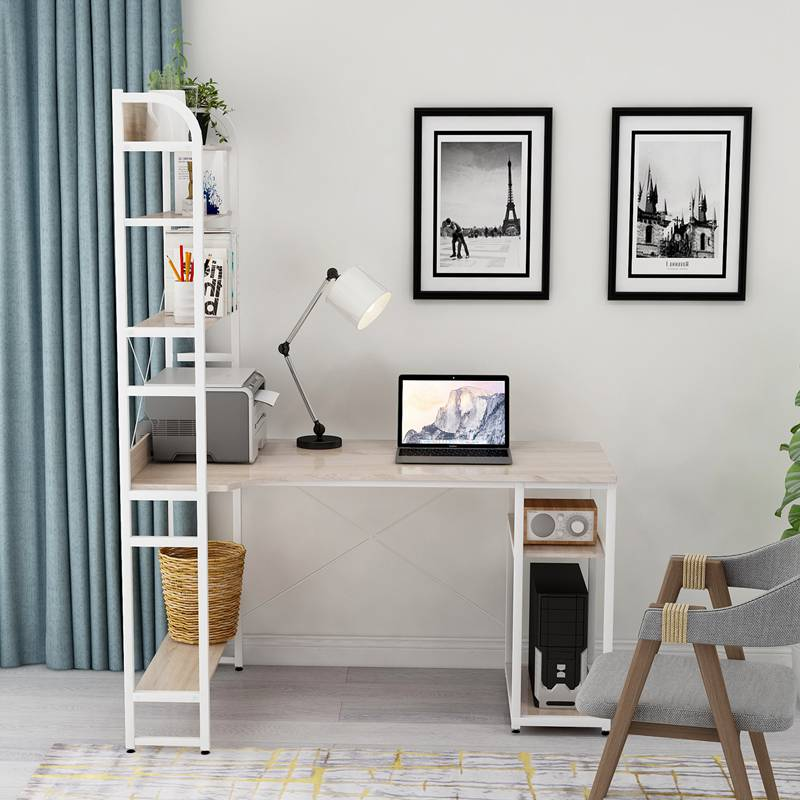 Home Office Computer Desk with 4 Tier Open Storage Bookshelf