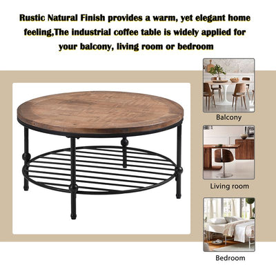 Rustic Round Wood Coffee Table with Storage Shelf