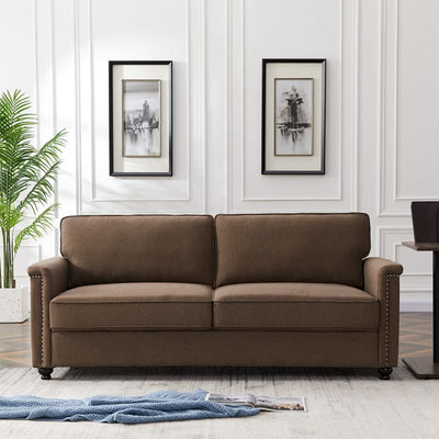 Living Room Sofa 3-Seater Couch Grey & Brown