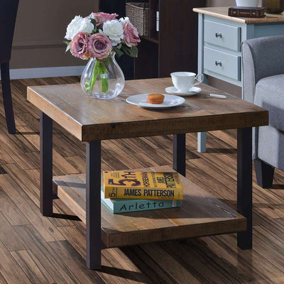 Rustic Square Wood Coffee Table with Storage Shelf