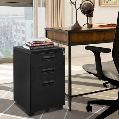Mobile File Cabinet PC Desk Storage with Wheel Keys 3 Drawers