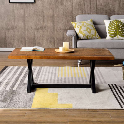 Modern Industrial Rectangle Wood Coffee Table