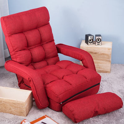 Folding Lazy Floor Chair Sofa Lounger Bed with Armrests and a Pillow