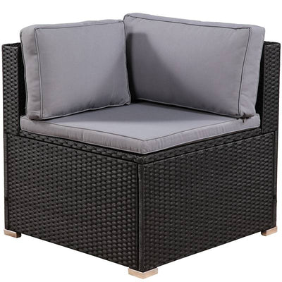 7 Piece Outdoor Sectional Sofa Set Patio Wicker Furniture Garden Seating Couch with Table