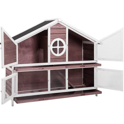 Two Storeys Small Animal Habitats Wood House Chicken Coop Rabbit Hutch Bunny Guinea Pig Hedgehog Sugar Glider Cage