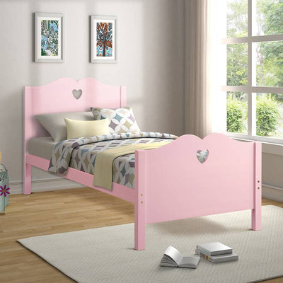 Heart Twin Size Platform Bed Frame with Headboard and Footboard