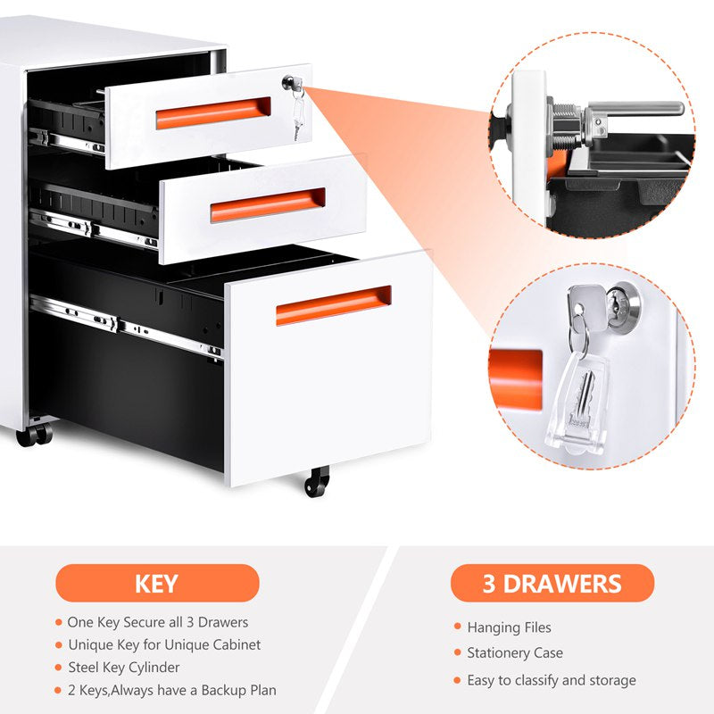 Mobile File Cabinet PC Desk Storage with Wheel Keys Handle 3 Drawers