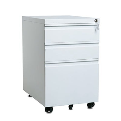 File Cabinet Computer Desk Storage Cabinet with 3 Drawers Wheel Keys Curved Handle
