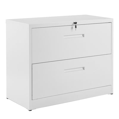 Heavy Duty Lockable Lateral File Cabinet 2 Drawer Metal Storage Office Desk Cabinet