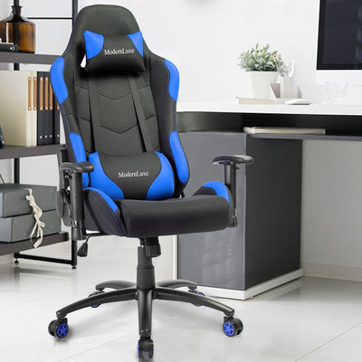 High-Back Gaming Chair Office Ergonomic Racing Swivel with Pillows and Armrests