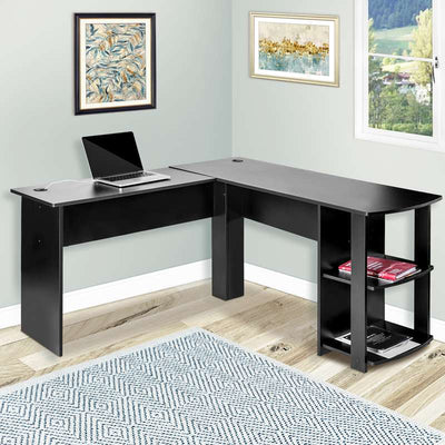 L Shaped Gaming Desk with Storage Shelf PC Computer Home Office Table