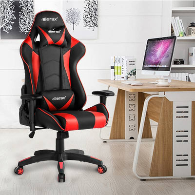 Reclining High Back Racing Chair PU Leather Ergonomic Gaming Home Office Chair