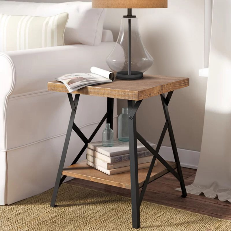 Rustic Wood End Table for Living Room Square Side Table