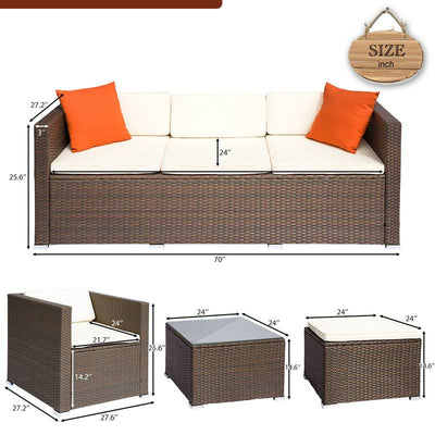 4 Piece Outdoor Sectional Sofa Set Wicker Patio Furniture Garden Seat Couch With Table
