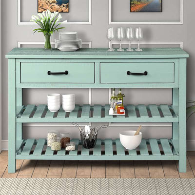 Retro Console Table with Drawers and Shelf Dining Room Furniture